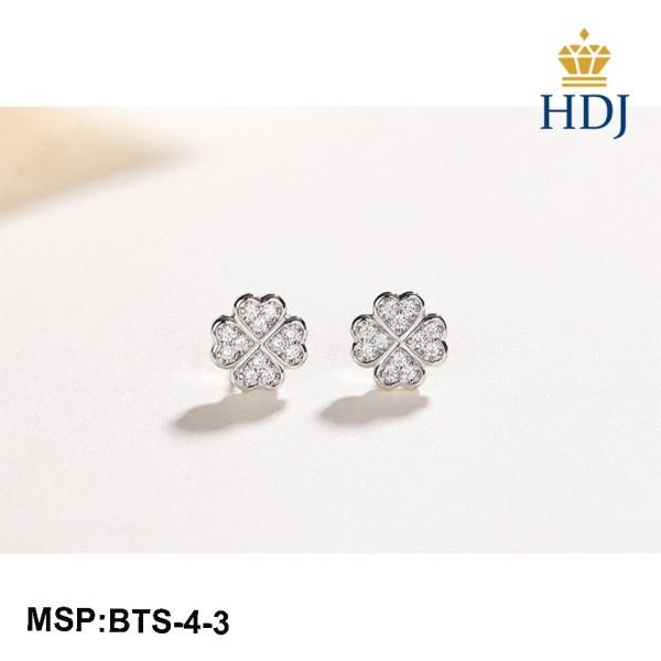 Combo dây chuyền và khuyên tai bạc Ý 925 Hình Cỏ bốn lá may mắn sang trọng trang sức cao cấp HDJ mã BTS-4-3