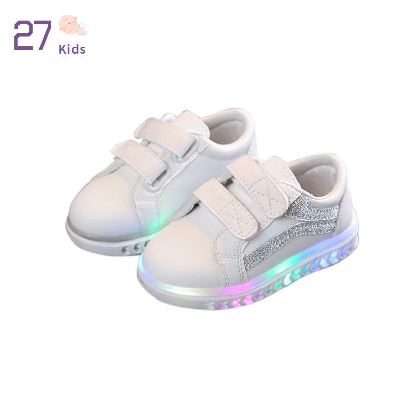 Children Shoes LED Light Kids Shoes with light Baby Boys Girls Lighting Sneakers Casual Children Sneakers 11, White