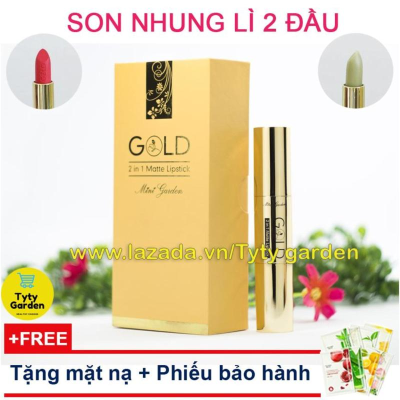 Son nhung lì 2 đầu Gold Matte Lipstick Mini Garden - Kèm son dưỡng ẩm không sợ khô môi [tặng kèm mặt nạ dưỡng da]