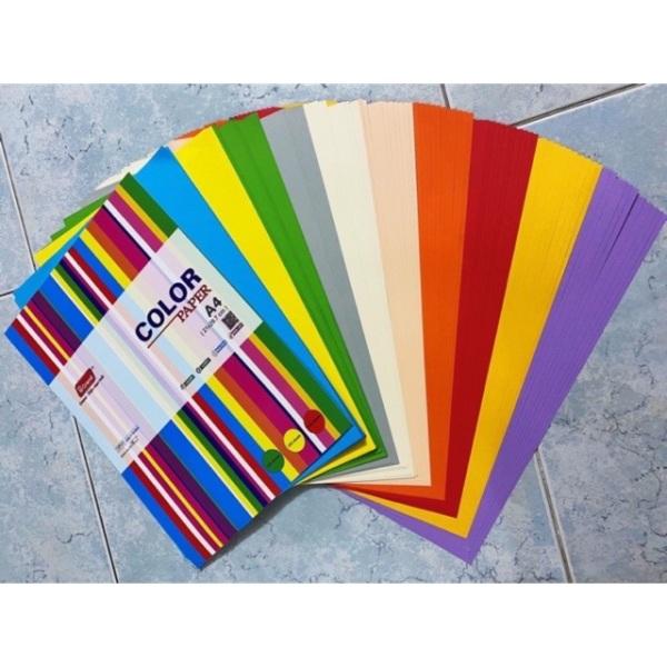 Mua Xấp 100 tờ giấy màu A4 định lượng 80 gsm dùng in ấn, thiết kế, tạo mẫu, trang trí (TRỘN 5 MÀU)