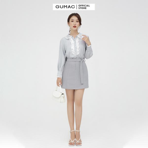 Nơi bán Chân váy nữ  phối dây kéo GUMAC mẫu mới VB597 Chất Liệu Thun 2 Da form A style trẻ trung
