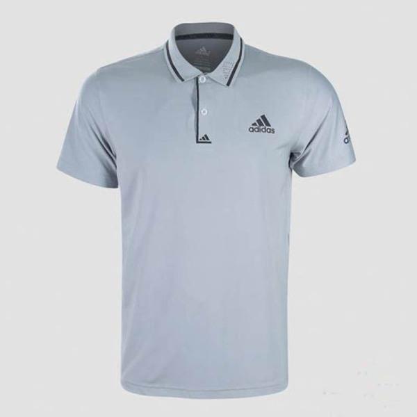 Áo thun nam Adidas viền sọc cổ bẻ màu xám trắng AT571
