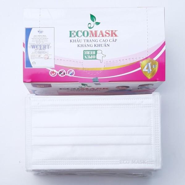 [50 cái Cao Cấp loại 1 Màu Trắng] Khẩu trang y tế 4 lớp ECO Mask ngừa dịch kháng khuẩn chống thấm nước lọc bụi và vi khuấn