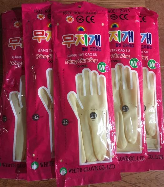 Giá bán Găng tay cao su Cầu Vồng dài 32cm size M, găng tay rửa chén rửa bát, bao tay cao su rửa chén
