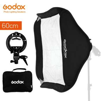 GODOX 60 x 60cm 24 * 24inch Foldable Softbox Kit with S Type Bracket Stable Bowens Flash Bracket Mount for Camera Flashes