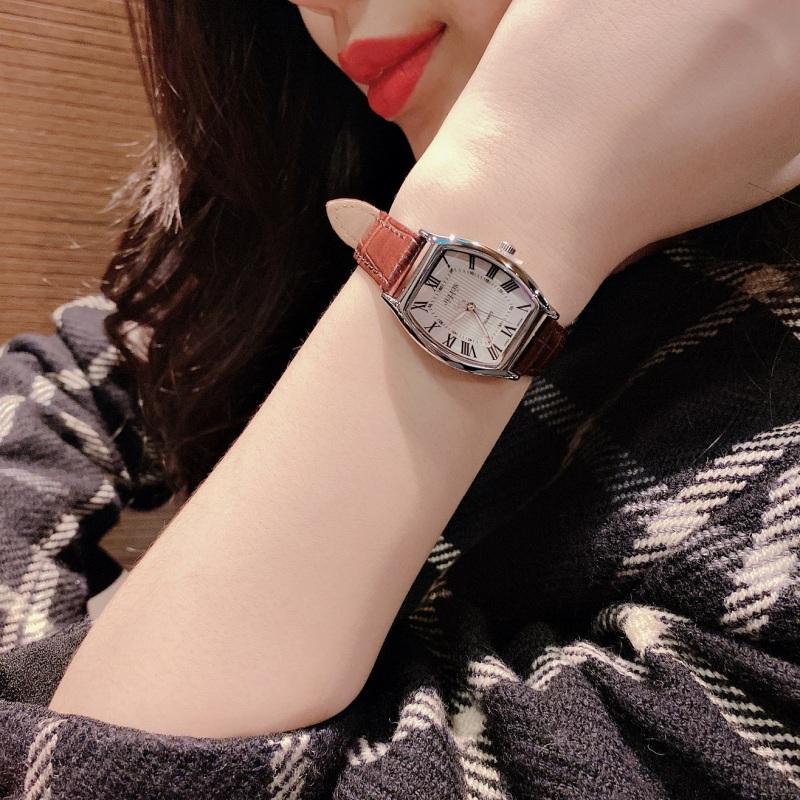 Đồng hồ nữ Julius Hàn Quốc JA-703LA dây da mặt số La Mã cổ điển (Nâu Bạc)