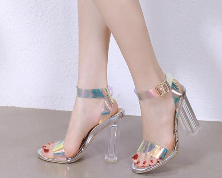 Giày gót trong ánh kim 9p quai chéo giá rẻ