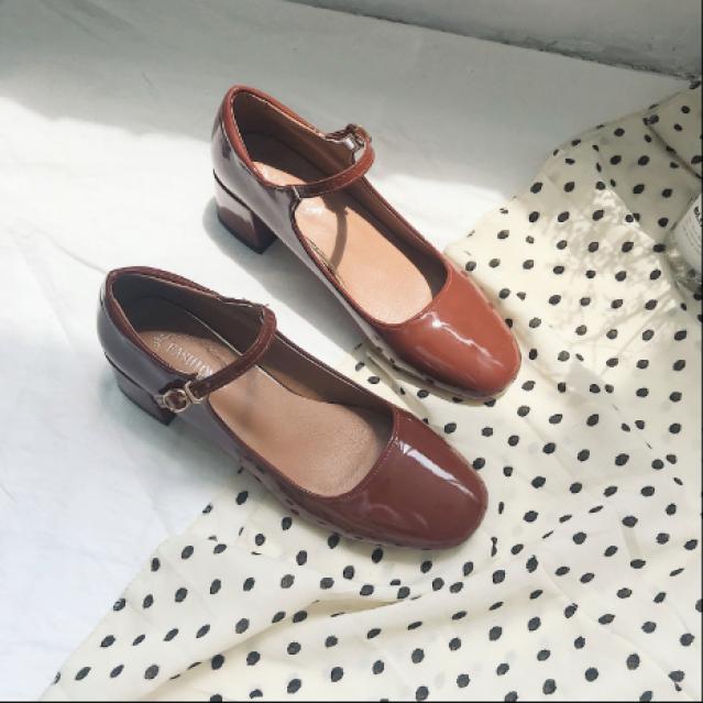 Giày búp bê marry Janes đế 4cm da bóng G016 giá rẻ