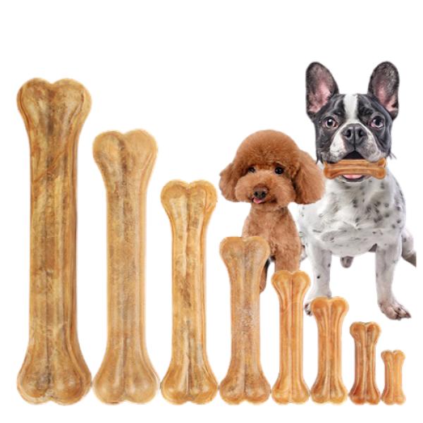 Xương da bò cho chó gặm sạch răng, hạn chế ngứa răng - Gói 2 xương size 12,5cm
