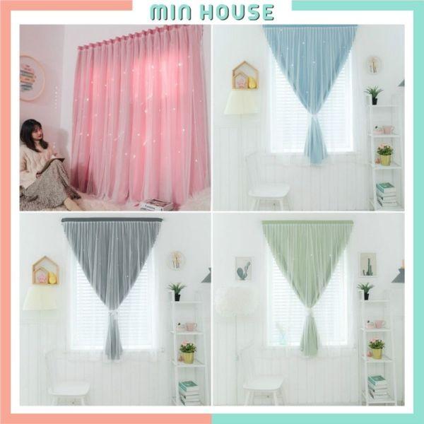 Rèm cửa sổ dán tường phòng ngủ 2 lớp trang trí đẹp, màn cửa che nắng decor phòng xinh xắn