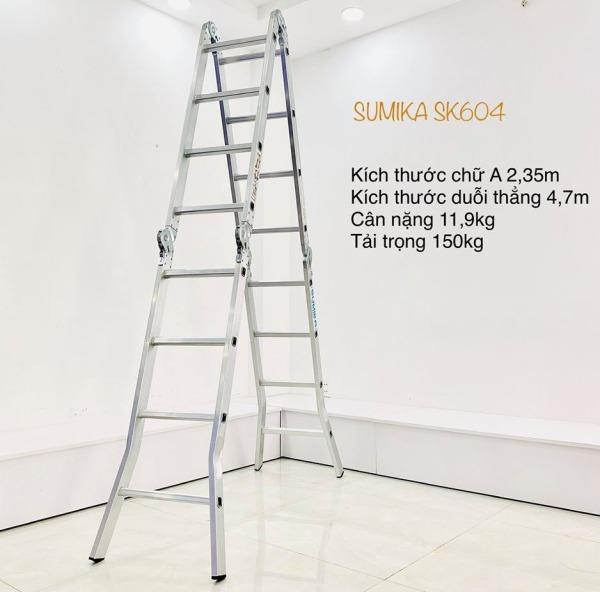 Thang nhôm gấp 4 khúc 4,59m Sumika SK604