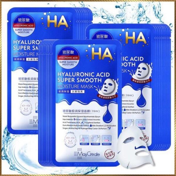 Bộ 20 miếng mặt nạ đắp mặt siêu cấp ẩm MayCreate HA Xanh Hyaluronic Acid Super Smooth Moisture Mask