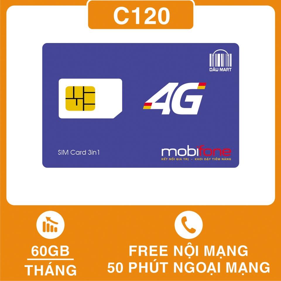 SIM 4G Mobifone C120 Tặng 60GB/Tháng Miễn Phí Gọi Nội Mạng Và 50 Phút Gọi Ngoại Mạng / Tháng Thay Thế SIM C90 Và C90N - DMC Telecom Ưu Đãi Bất Ngờ