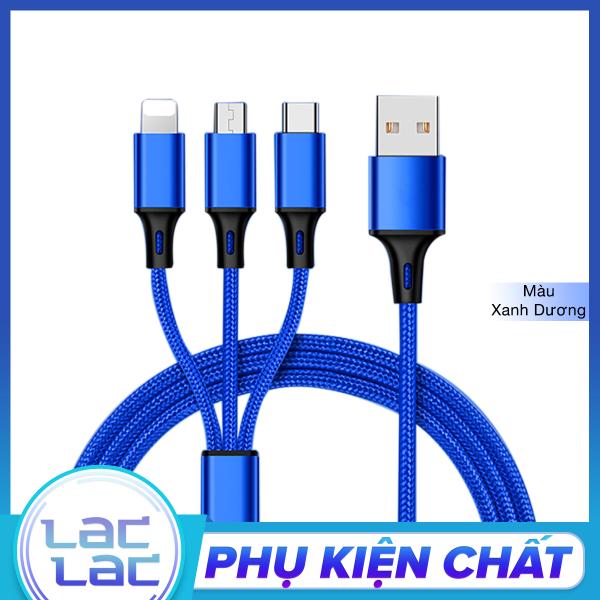 Giá Cáp Sạc Bọc Dù 3 Đầu Đa Năng 3 in 1: Lightning - Micro USB - Type C, Sạc Ổn Định Hơn, An Toàn Hơn cho iPhone/iPad, Samsung, Xiaomi, Huaweii,...