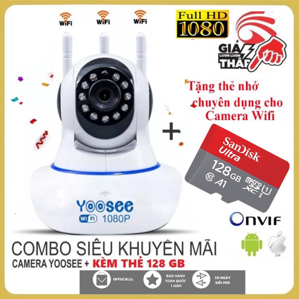 Camera Wifi Yoosee Xoay 360 Độ-Tùy Chọn Kèm Thẻ Nhớ 128GB-64GB-32GB-Camera Yoosee 3 Ăng Ten 2.0 MPX-Cảm Biến Chuyển Động-Lưu Trữ Video-Đàm Thoại Song Phương