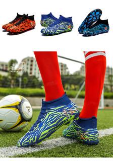34-44 Giày bóng đá sân cỏ nhân tạo đinh dài cổ cao, giày bóng đá người lớn trẻ em, giày bóng đá tập luyện, da chống trượt chống va đập phía trên thumbnail