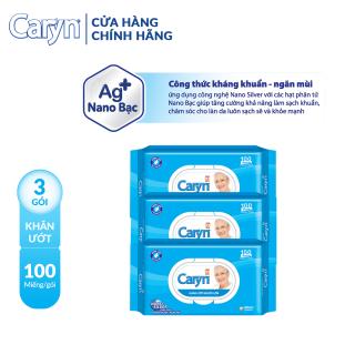 Combo 3 gói Khăn ươ t Caryn 100M gói thumbnail