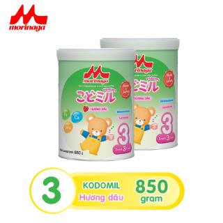 Combo 2 lon Sữa Morinaga Số 3 Kodomil Cho Bé Từ 3 Tuổi 850gr Hương dâu- Date T12.2021 ( tách đai Clearance ) thumbnail