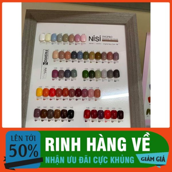 Set 58 màu dòng sơn gel  NISI của Hàn Quốc ( tặng bảng màu + 2 chai base top) giá rẻ