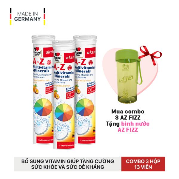 Combo 03 tuýp viên sủi bổ sung 21 Vitamin và khoáng chất Doppelherz A-Z Fizz Multivitamins and Minerals (Tuýp 13 viên)