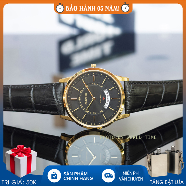 Đồng hồ Nam Sunrise DM1118SWA, Full hộp, Thẻ bảo hành hãng, Kính Sapphire chống xước, chống nước , dây da