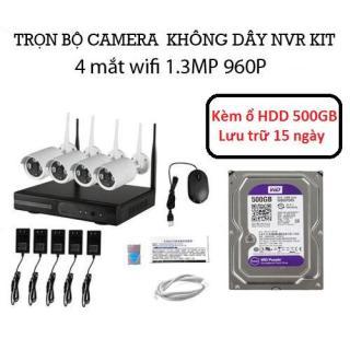 Bộ đầu ghi NVR kit wifi 4 mắt camera wifi 1.3M 960P Kèm ổ HDD 500GB thumbnail