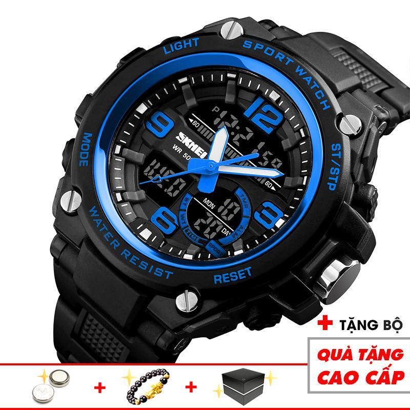 Đồng hồ nam SKMEI điện tử thể thao hợp thời trang SKM22 dây nhựa siêu bền chống xước, chống nước đẳng cấp cực mạnh (Đen Xanh) - Arman Store bán chạy
