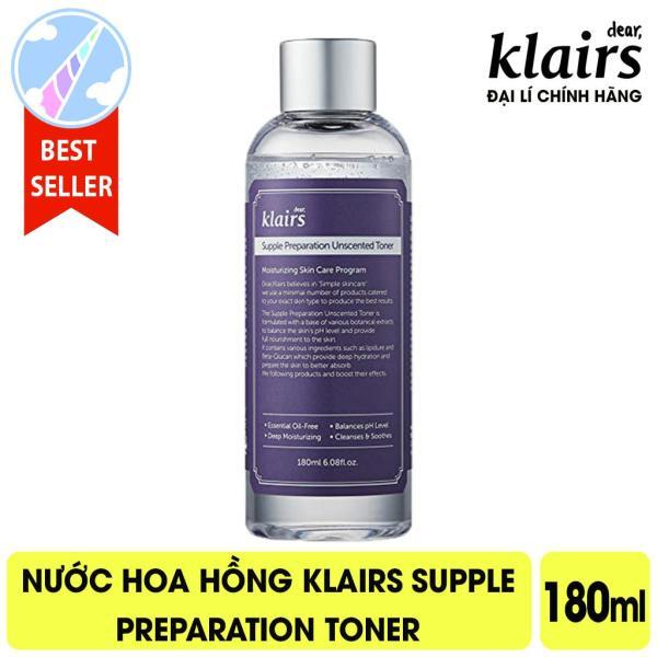 Nước Hoa Hồng Cấp Ẩm, Kháng Viêm Klairs Supple Preparation Toner 180ml - Unscented - Không mùi nhập khẩu