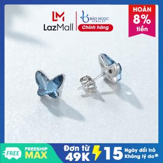 Bông Tai Khuyên Nụ Khuyên Tai Bạc Hình Con Bướm Xanh Ngọc B2565 - Bảo Ngọc Jewelry thumbnail