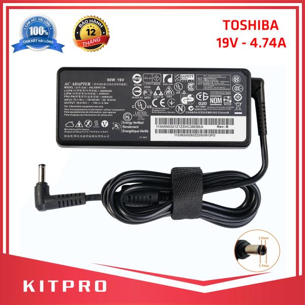Bảng giá [HÀNG CAO CẤP] Cục sạc laptop TOSHIBA 19V 4.74A KITPRO BẢO HÀNH 12 THÁNG kích thước đầu ghim 5.5mm x 2.5mm đầu tròn loại không có kim ở giữa Phong Vũ