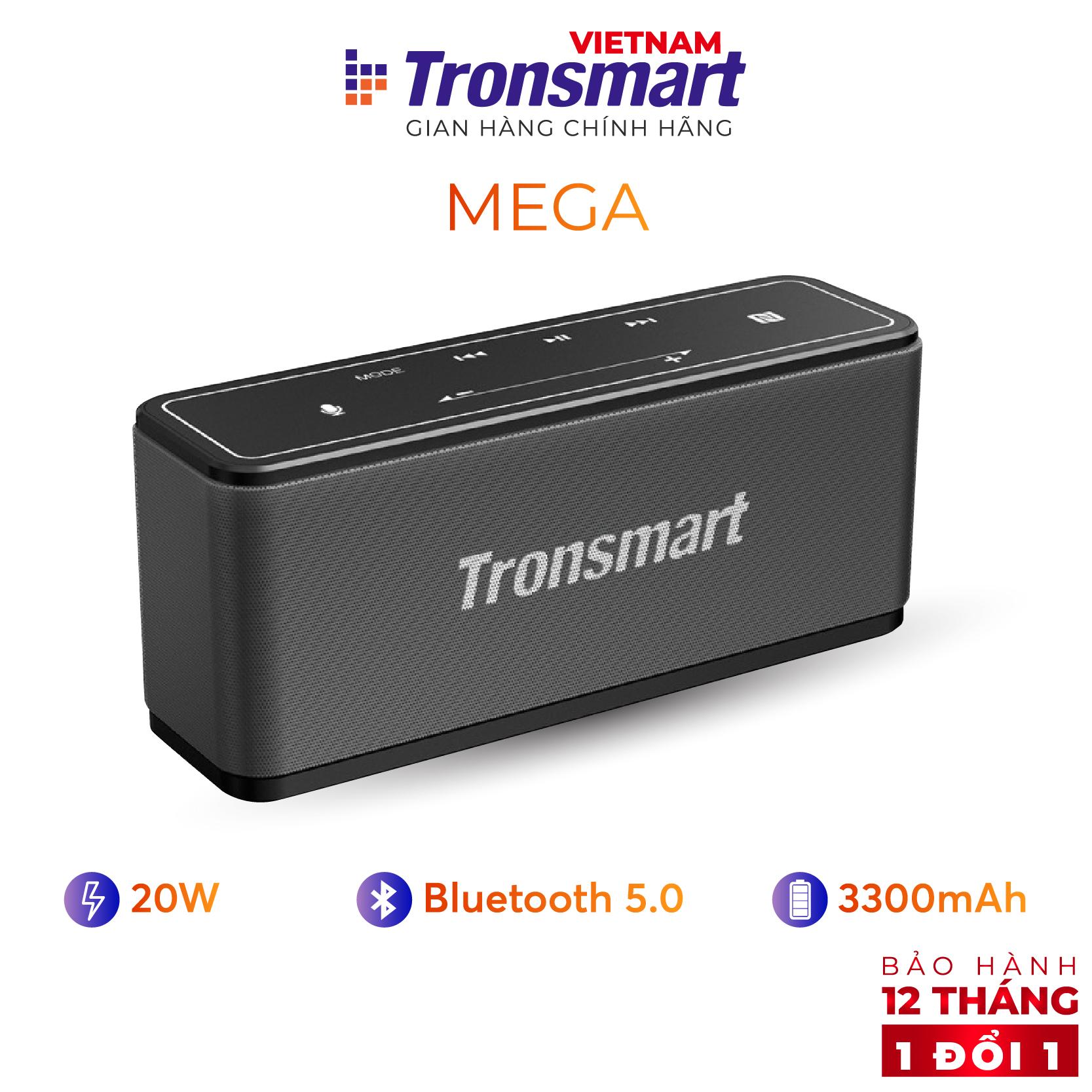 [VOUCHER 7% tối đa 500K] Loa Bluetooth 5.0 Tronsmart Element Mega Công suất 40W Hỗ trợ TWS và NFC ghép đôi 2 loa Âm thanh nổi sống động kết hợp bass mạnh và sâu Có Mic đàm thoại Thời gian nghe nhạc lên tới 24h - Bảo hành 12 tháng