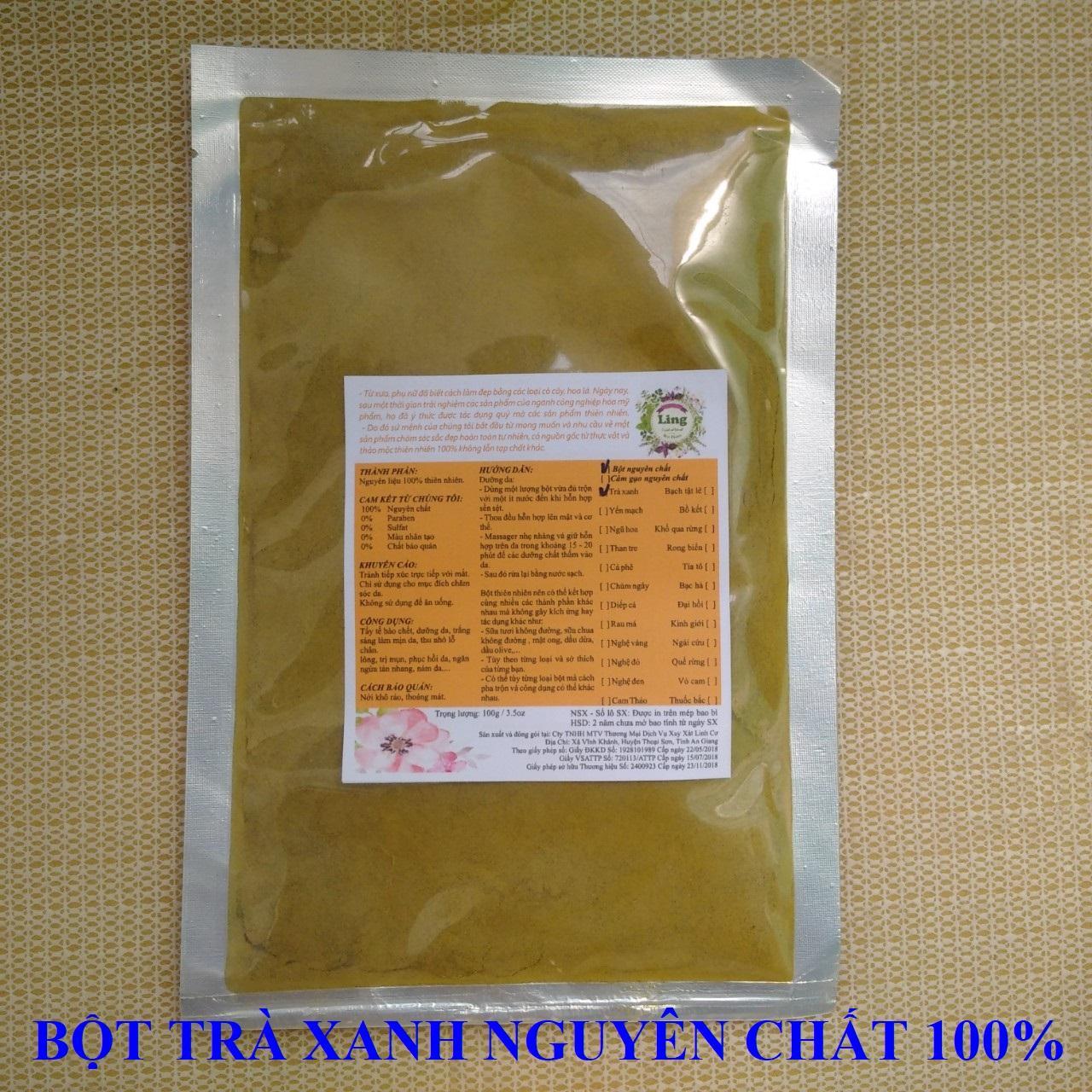 Bột Trà xanh mặt nạ đắp mặt nguyên chất Ling 200g nhiều công dụng