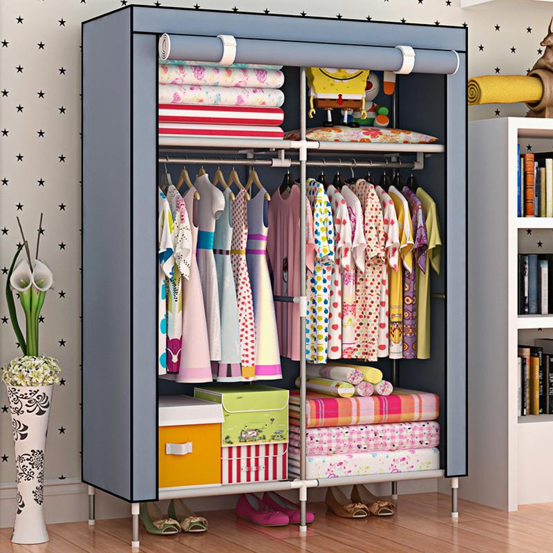 FTO1 And High Base Moisture-Proof Cloth Wardrobe Single Person Simple Wardrobe Reinforced Dustproof Children Closet