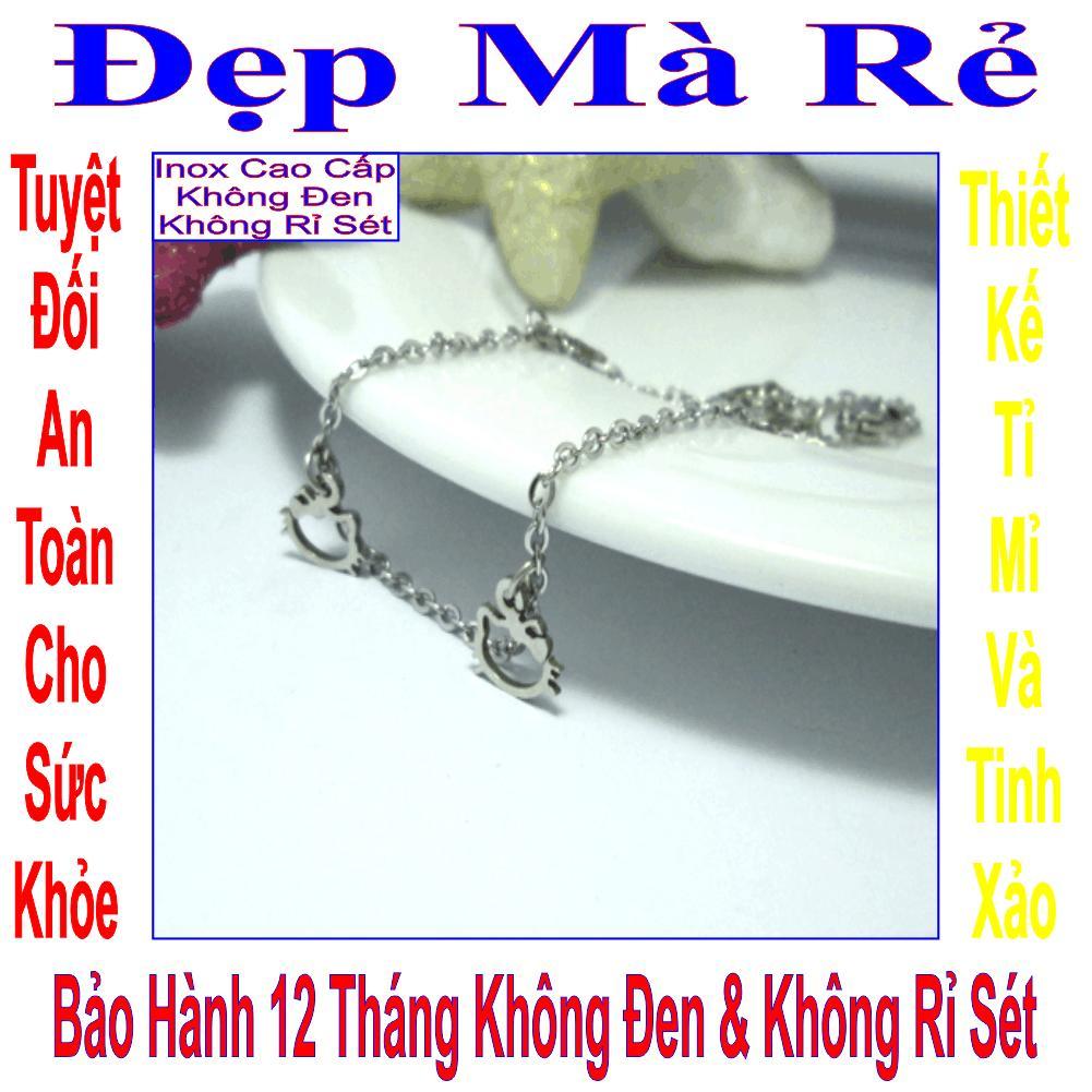 Giá bán Lắc tay trẻ em inox Đẹp Mà Rẻ kiểu 5 đầu mèo Kitty rỗng - LTTE00249T015019