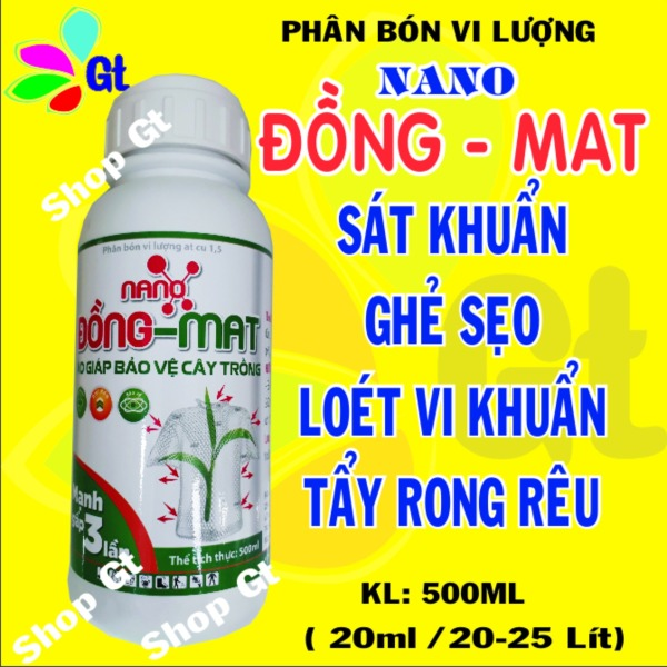 (Shop Gt19) Chế phẩm sinh học Nano Đồng Mat - KL: 500ml Sát khuẩn tẩy rửa rong rêu