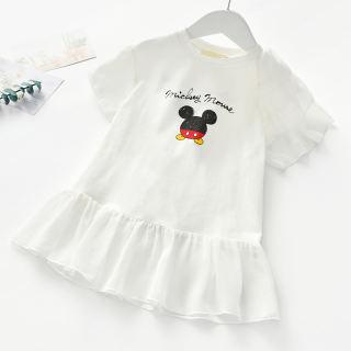 KTtrade Váy Cotton In Hình Hoạt Hình Dễ Thương Cho Bé Gái 2-6 Tuổi Đầm Công Chúa Ngắn Tay Cho Bé Gái Mới