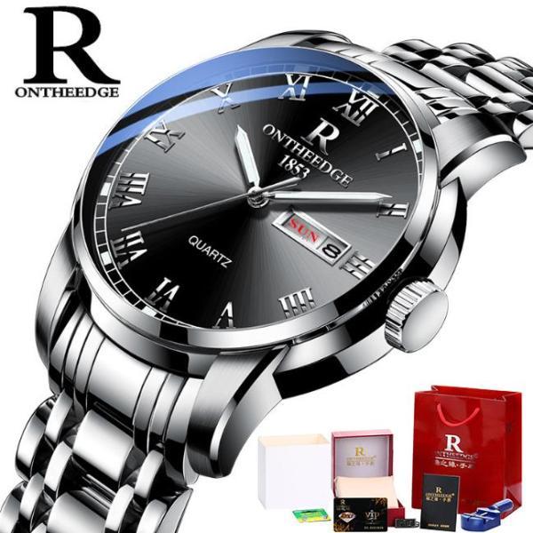[Fullbox tặng pin + cắt dây] Đồng hồ nam Ontheedge RZY031 dây kim loại (Đen Bạc) bán chạy