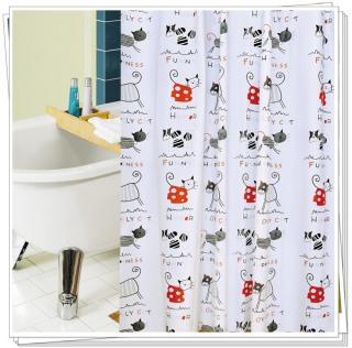 Rèm phòng tắm 1.8m có kèm móc treo mèo con thumbnail