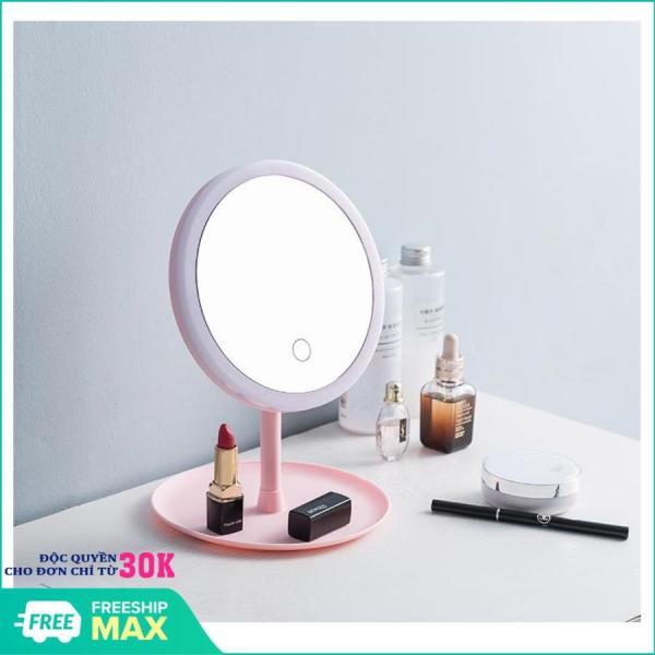 Gương trang điểm có đèn LED tròn cảm ứng 3 chế độ sáng, Gương trang điểm - Gương cảm ứng ( Màu Ngẫu Nhiên) giá rẻ