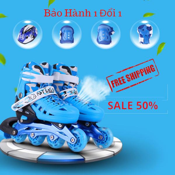 Giá bán Giày Trượt Patin 4 Bánh 2 Hàng - Giầy PaTin Trẻ Em Người Lớn - Mâu Mới 2020 - Tặng Kèm Đồ Bảo Hộ - BH 12 THÁNG