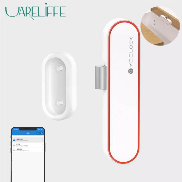 Uareliffe Yeelock Smart Drawer Switch E Mobile Phone One Key Unlock Punch-free Key Sharing Unlock Record Real-time View Bluetooth APP Unlock Cabinet Lock Anti-Theft Child Safety File Security Drawer Switch For Home Office