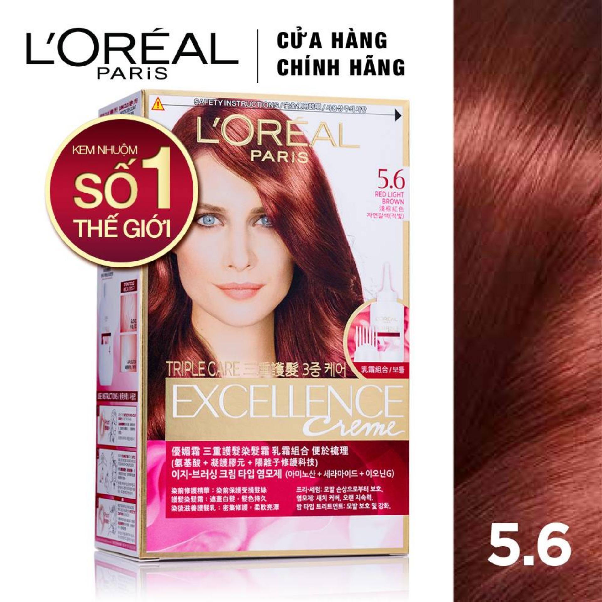 Màu nhuộm dưỡng tóc phủ bạc LOreal Paris Excellence Crème 172ml nhập khẩu
