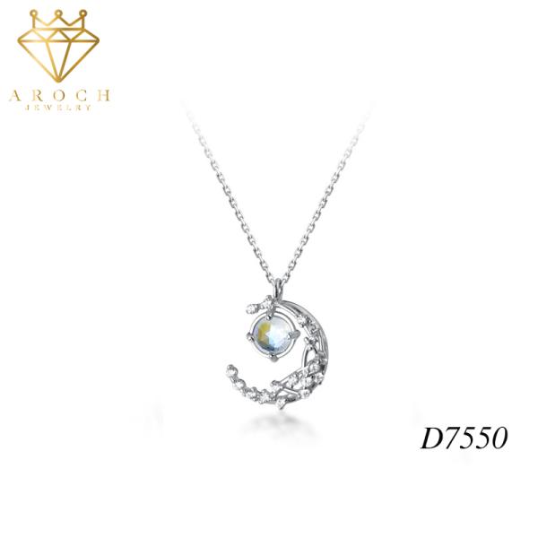 Dây chuyền bạc Ý s925 lưỡi liềm trắng gắn quả cầu nhỏ tươi sang trọng D7550 - AROCH Jewelry