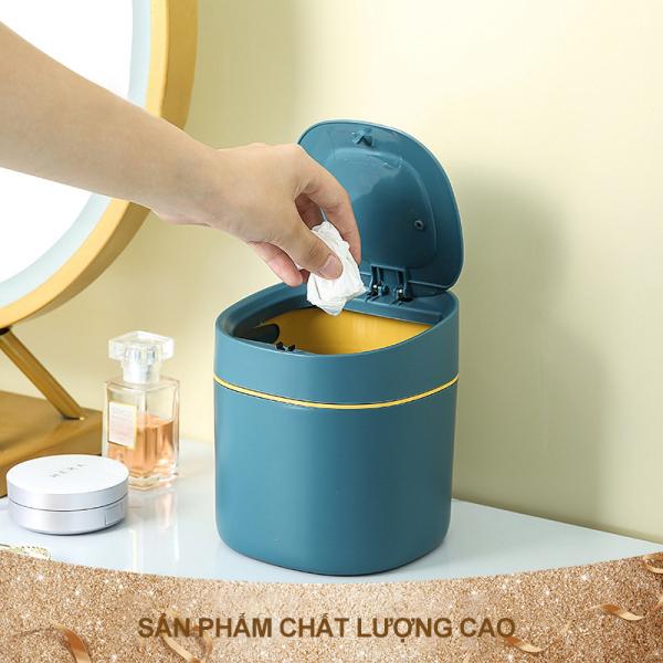 Thùng rác để bàn, thùng rác bằng nhựa mini trong gia đình, thùng rác để bàn có nắp bấm sáng tạo, phong cách Bắc Âu
