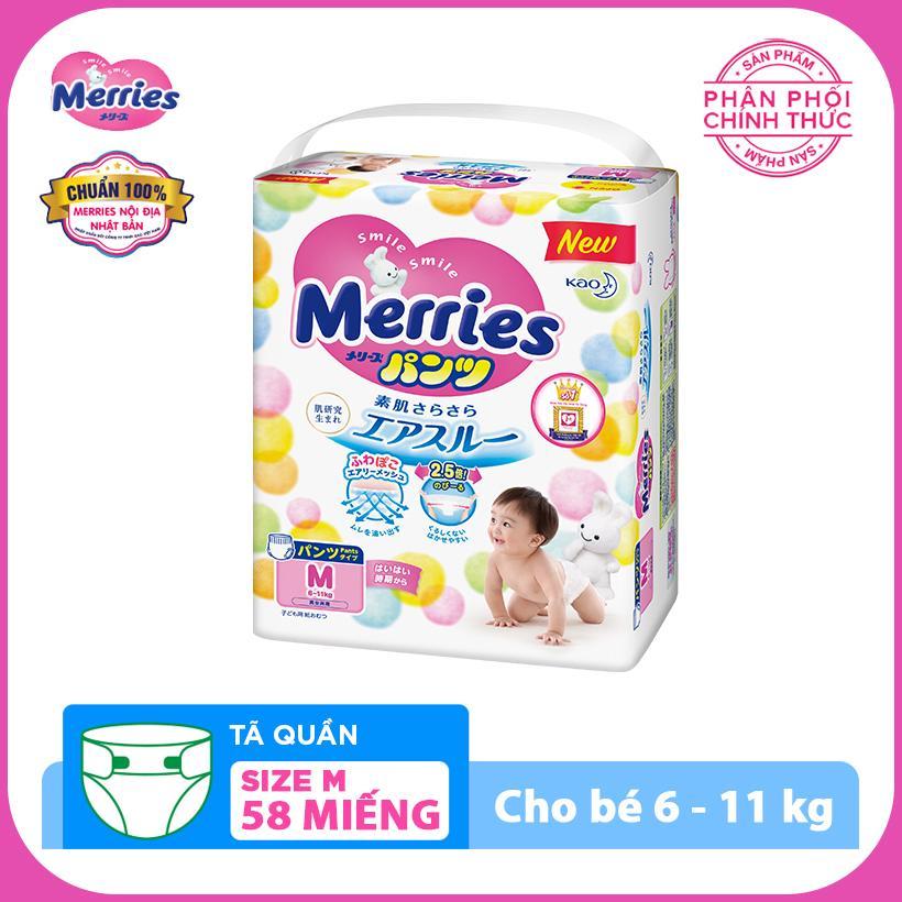 Tã/bỉm quần Merries size M - 58 miếng (Cho bé...