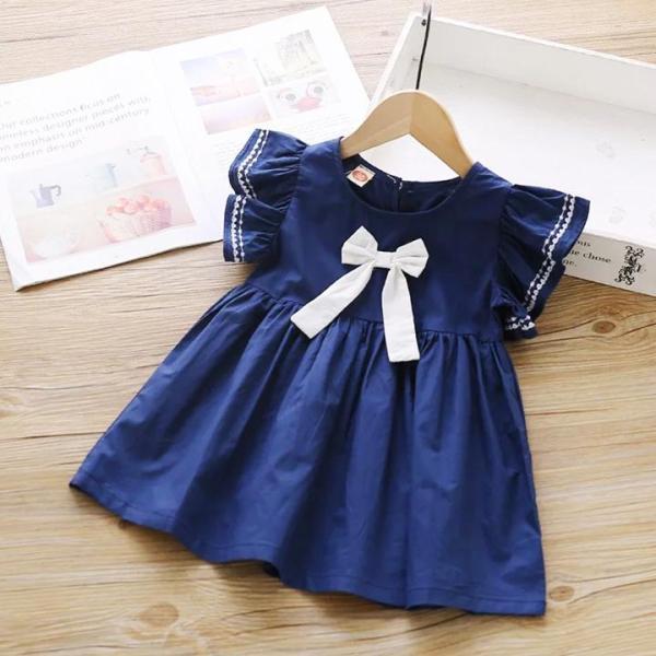 Nơi bán [HCM]Đầm cotton cánh tiên dáng xòe phối nơ đáng yêu cho bé gái 3-8 tuổi – D032