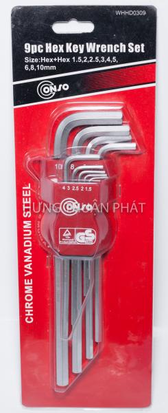 Bộ Lục Giác Đầu Bằng Conso 9 Chi Tiết WHHD0309 (1.5-10mm)