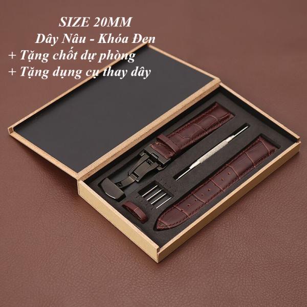 Dây đồng hồ da bò cao cấp tặng Hộp Gỗ SIZE 20mm ( Da NÂU) kèm khóa bướm thép không gỉ 316L (Khóa đen) bán chạy