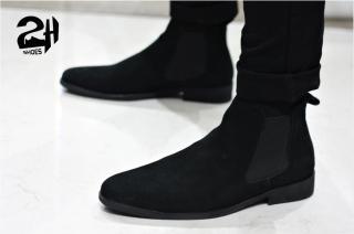 Giày nam chelsea boot da bò lộn, phối quần jean đen siêu ngầu SHOES 2H size 38-43, Nâu - Đen 2H-56 thumbnail