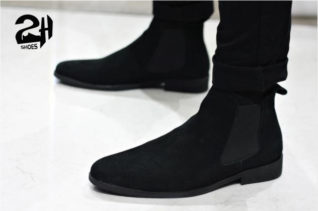 Giày nam chelsea boot da bò lộn, phối quần jean đen siêu ngầu SHOES 2H size 38-43, Nâu - Đen 2H-56 giá rẻ